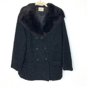 Vintage Styled by Winter Fur Collar Black Coat